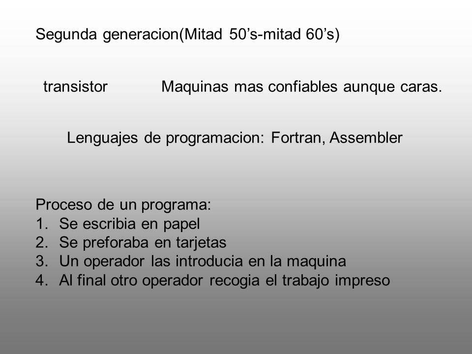 transistorMaquinas mas confiables aunque caras. Lenguajes de programacion: Fortran, Assembler Proceso de un programa: 1.Se escribia en papel 2.Se pref