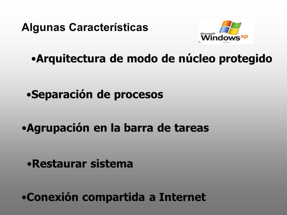 Algunas Características Arquitectura de modo de núcleo protegido Separación de procesos Agrupación en la barra de tareas Restaurar sistema Conexión co