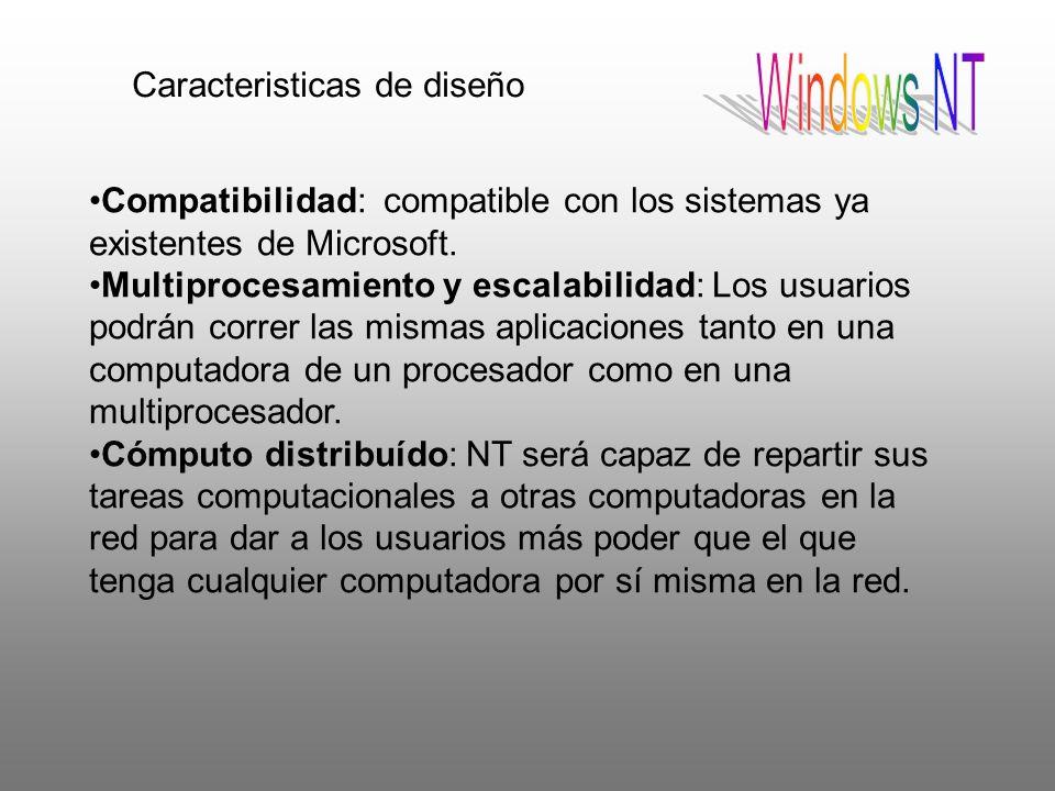 Caracteristicas de diseño Compatibilidad: compatible con los sistemas ya existentes de Microsoft. Multiprocesamiento y escalabilidad: Los usuarios pod