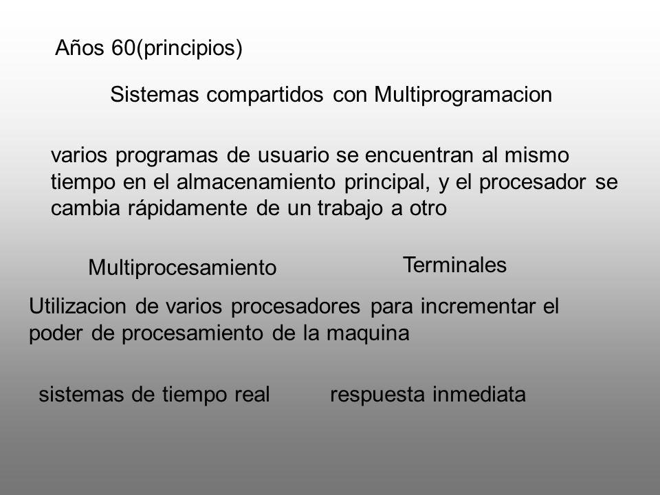 Sistemas compartidos con Multiprogramacion Multiprocesamiento varios programas de usuario se encuentran al mismo tiempo en el almacenamiento principal