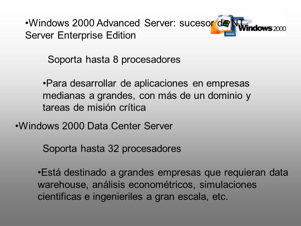 Windows 2000 Advanced Server: sucesor de NT Server Enterprise Edition Soporta hasta 8 procesadores Para desarrollar de aplicaciones en empresas median