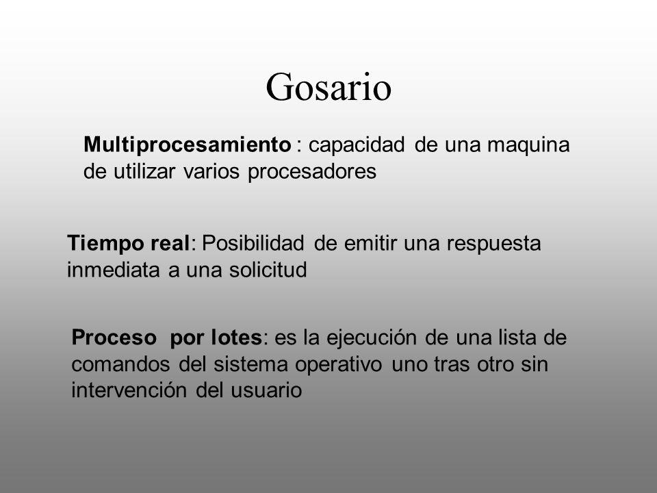 Gosario Multiprocesamiento : capacidad de una maquina de utilizar varios procesadores Tiempo real: Posibilidad de emitir una respuesta inmediata a una