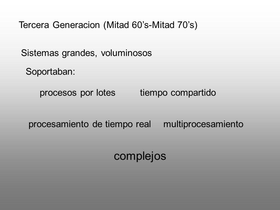 Tercera Generacion (Mitad 60s-Mitad 70s) Sistemas grandes, voluminosos multiprocesamiento Soportaban: procesos por lotestiempo compartido procesamient