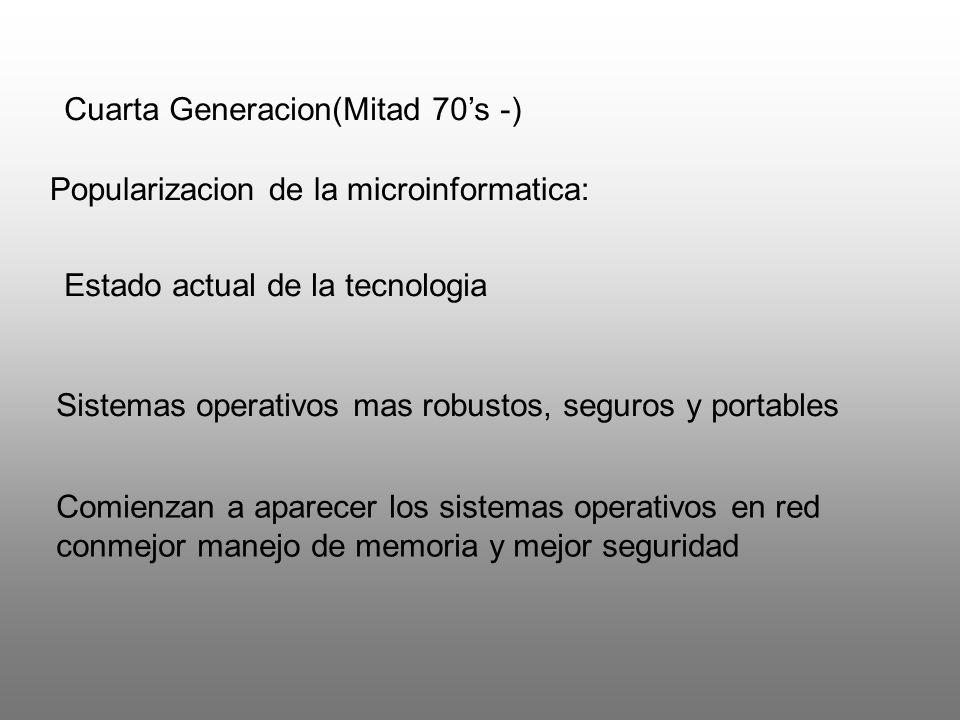 Cuarta Generacion(Mitad 70s -) Popularizacion de la microinformatica: Estado actual de la tecnologia Sistemas operativos mas robustos, seguros y porta