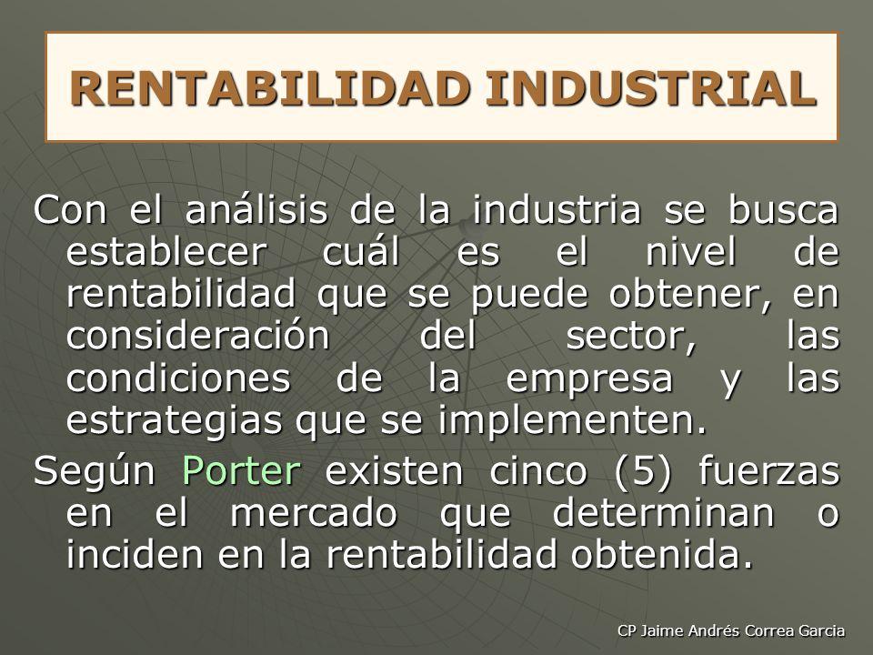 CP Jaime Andrés Correa Garcia RENTABILIDAD INDUSTRIAL Con el análisis de la industria se busca establecer cuál es el nivel de rentabilidad que se pued