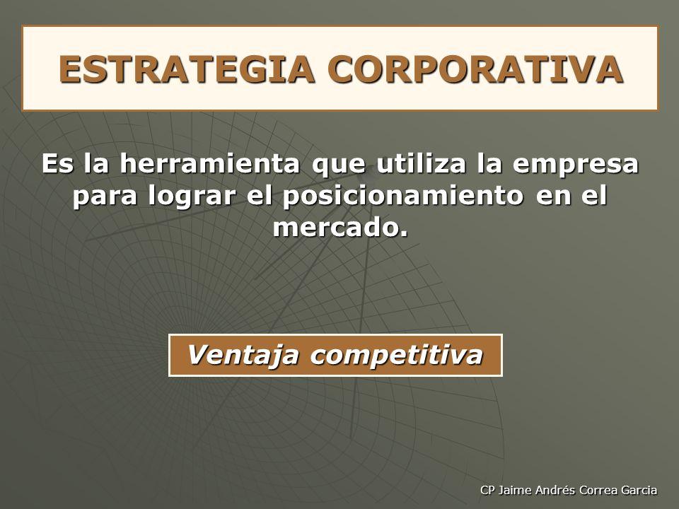 CP Jaime Andrés Correa Garcia ESTRATEGIA CORPORATIVA Es la herramienta que utiliza la empresa para lograr el posicionamiento en el mercado. Ventaja co