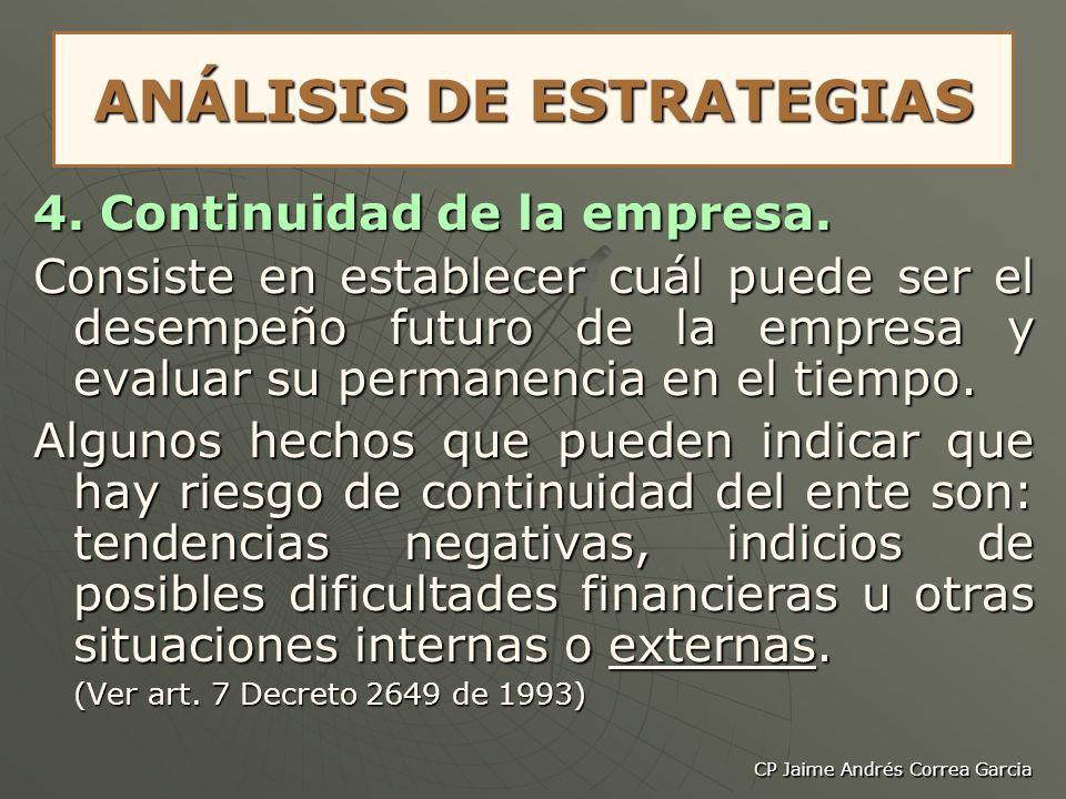 CP Jaime Andrés Correa Garcia ANÁLISIS DE ESTRATEGIAS 4. Continuidad de la empresa. Consiste en establecer cuál puede ser el desempeño futuro de la em