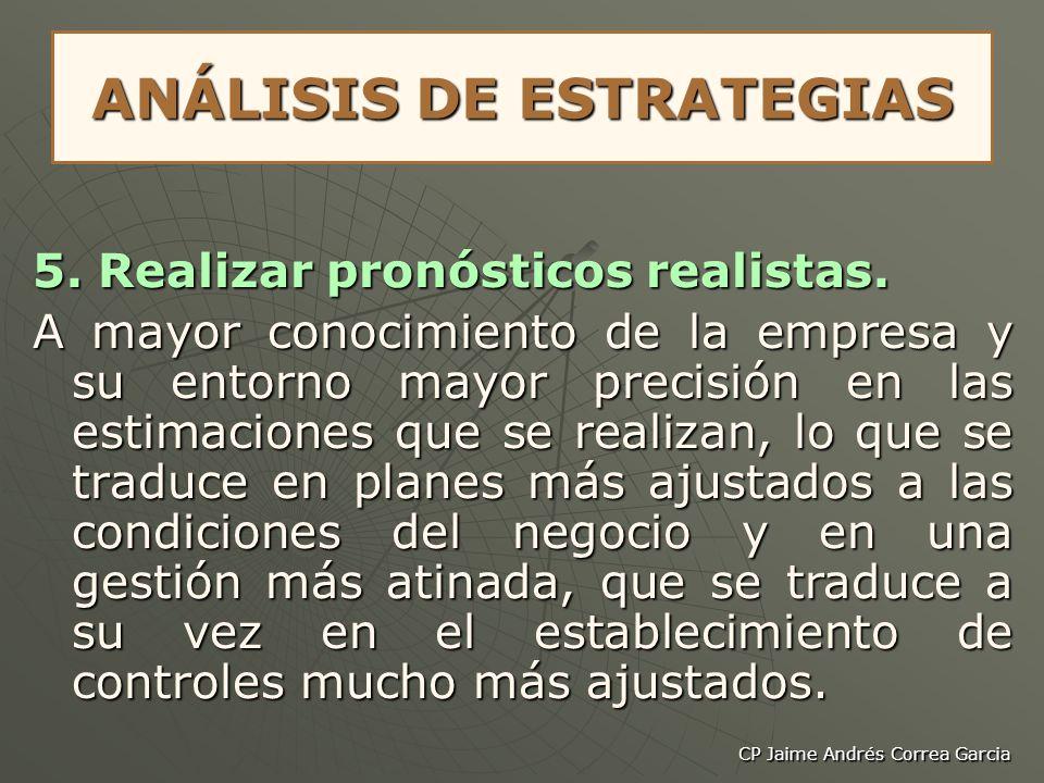 CP Jaime Andrés Correa Garcia ANÁLISIS DE ESTRATEGIAS 5. Realizar pronósticos realistas. A mayor conocimiento de la empresa y su entorno mayor precisi