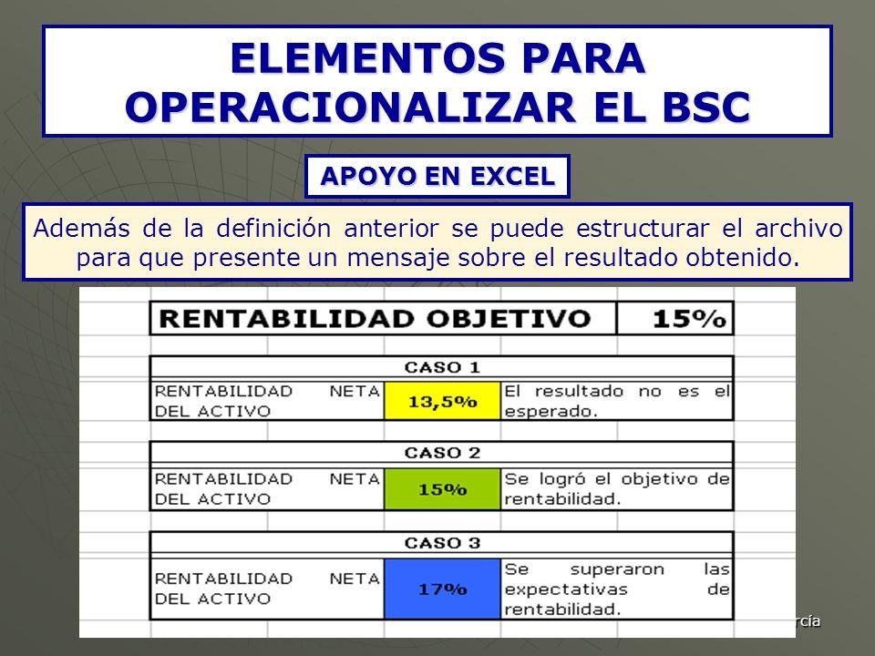 C.P. Jaime Andrés Correa García ELEMENTOS PARA OPERACIONALIZAR EL BSC APOYO EN EXCEL Además de la definición anterior se puede estructurar el archivo