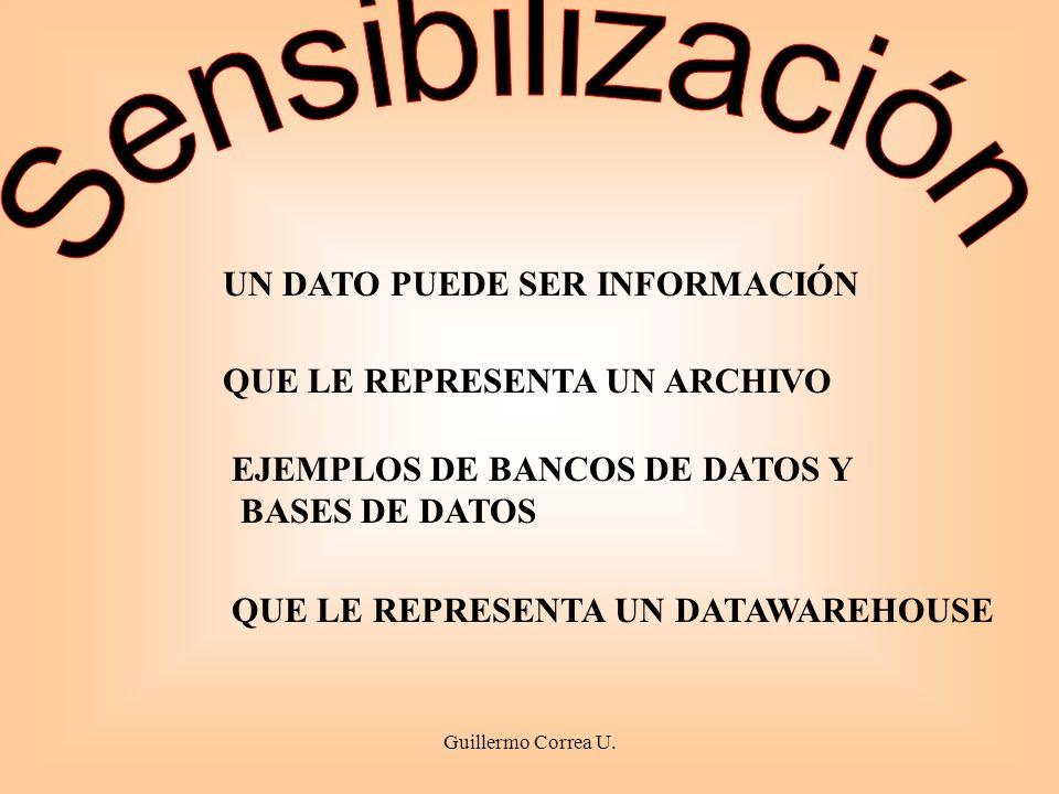 EJEMPLOS DE BANCOS DE DATOS Y BASES DE DATOS UN DATO PUEDE SER INFORMACIÓN QUE LE REPRESENTA UN ARCHIVO QUE LE REPRESENTA UN DATAWAREHOUSE