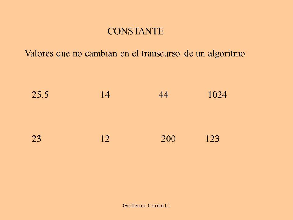 Guillermo Correa U. CONSTANTE Valores que no cambian en el transcurso de un algoritmo 25.5 14 44 1024 23 12 200 123