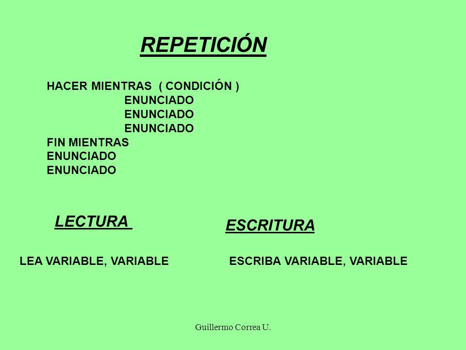Guillermo Correa U. REPETICIÓN HACER MIENTRAS ( CONDICIÓN ) ENUNCIADO FIN MIENTRAS ENUNCIADO LECTURA LEA VARIABLE, VARIABLE ESCRITURA ESCRIBA VARIABLE