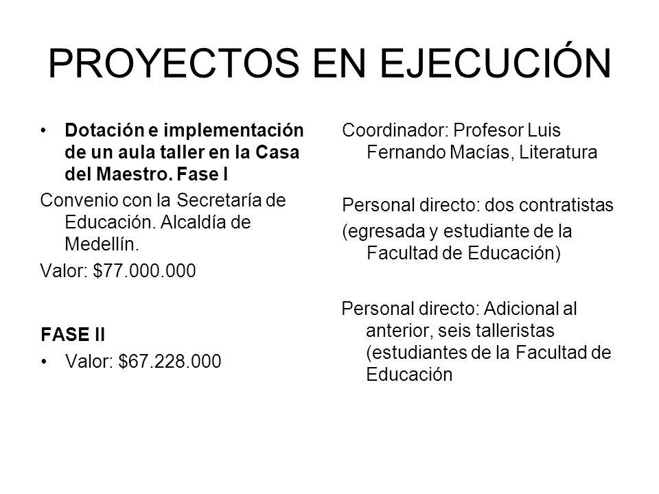 PROYECTOS EN EJECUCIÓN Dotación e implementación de un aula taller en la Casa del Maestro. Fase I Convenio con la Secretaría de Educación. Alcaldía de