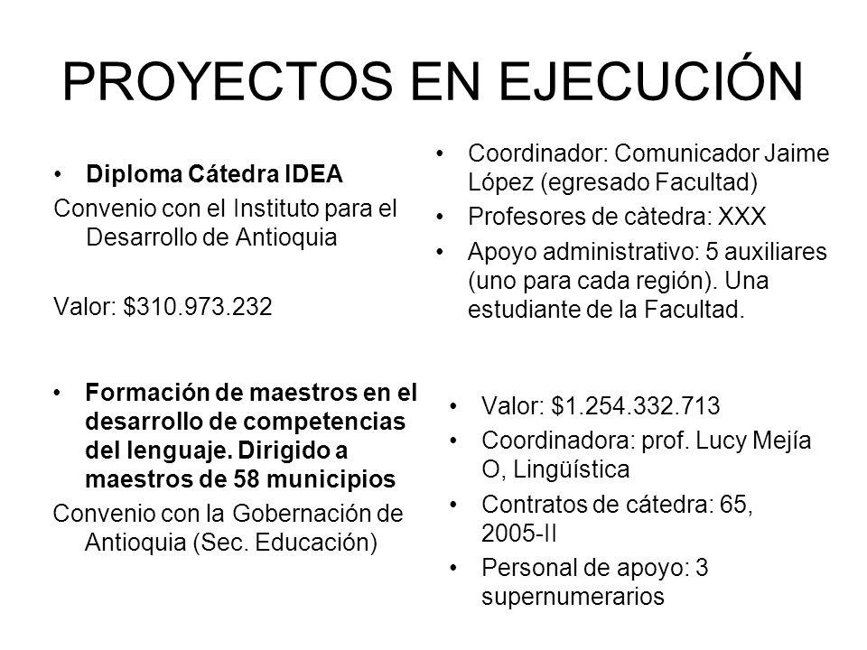 PROYECTOS EN EJECUCIÓN Diploma Cátedra IDEA Convenio con el Instituto para el Desarrollo de Antioquia Valor: $310.973.232 Coordinador: Comunicador Jai