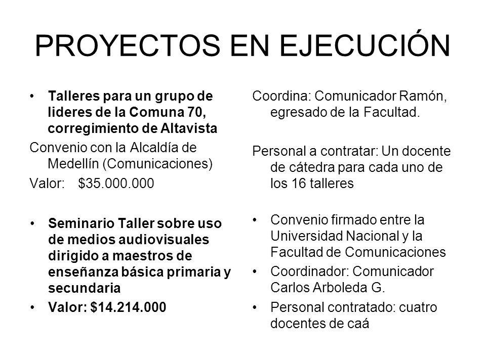 PROYECTOS EN EJECUCIÓN Talleres para un grupo de lideres de la Comuna 70, corregimiento de Altavista Convenio con la Alcaldía de Medellín (Comunicacio