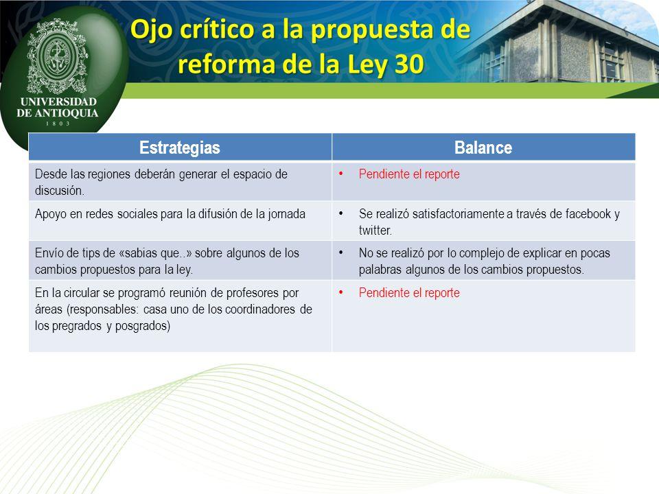 EstrategiasBalance Desde las regiones deberán generar el espacio de discusión. Pendiente el reporte Apoyo en redes sociales para la difusión de la jor