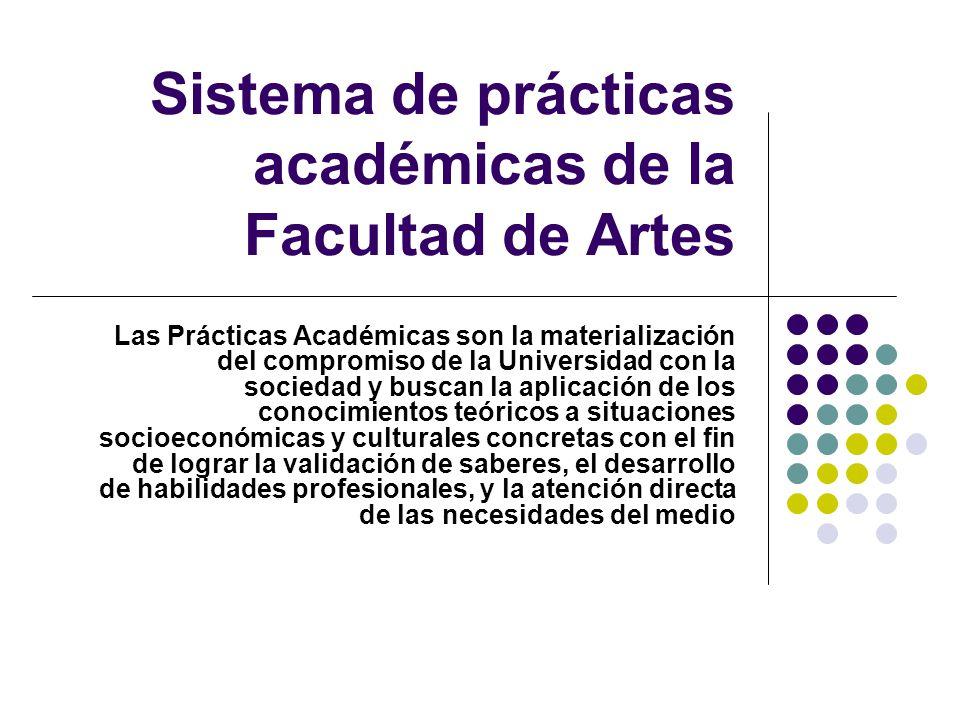 Sistema de prácticas académicas de la Facultad de Artes Las Prácticas Académicas son la materialización del compromiso de la Universidad con la sociedad y buscan la aplicación de los conocimientos teóricos a situaciones socioeconómicas y culturales concretas con el fin de lograr la validación de saberes, el desarrollo de habilidades profesionales, y la atención directa de las necesidades del medio