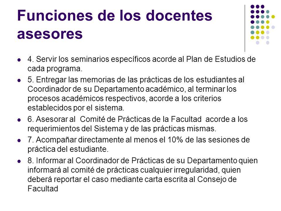 Funciones de los docentes asesores 4. Servir los seminarios específicos acorde al Plan de Estudios de cada programa. 5. Entregar las memorias de las p