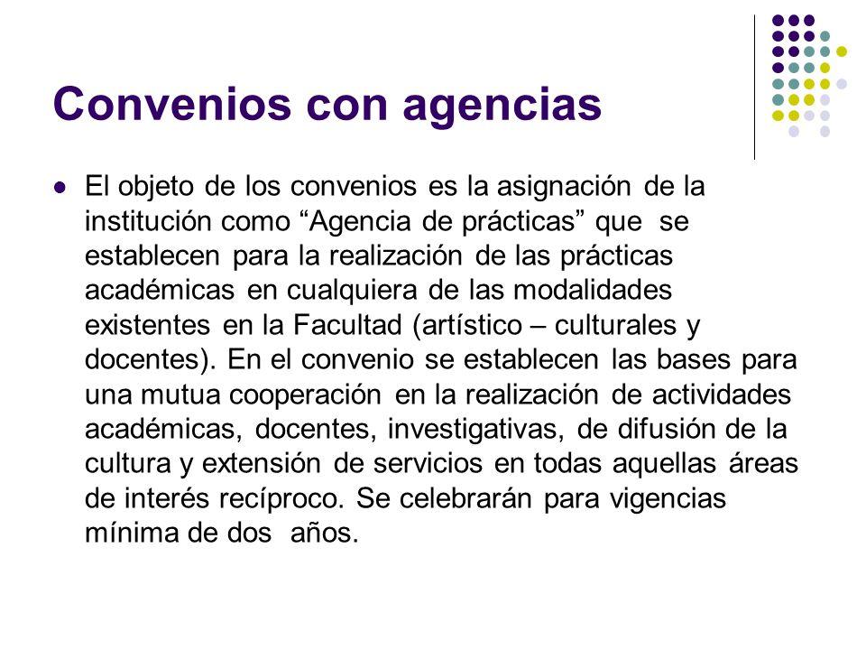 Convenios con agencias El objeto de los convenios es la asignación de la institución como Agencia de prácticas que se establecen para la realización de las prácticas académicas en cualquiera de las modalidades existentes en la Facultad (artístico – culturales y docentes).