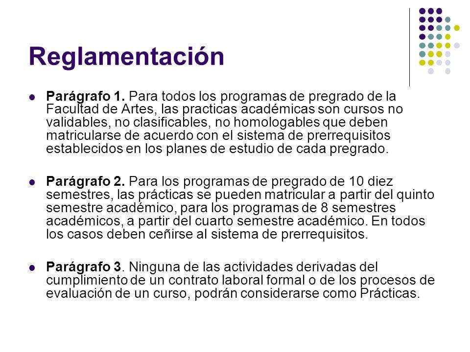 Reglamentación Parágrafo 1. Para todos los programas de pregrado de la Facultad de Artes, las practicas académicas son cursos no validables, no clasif