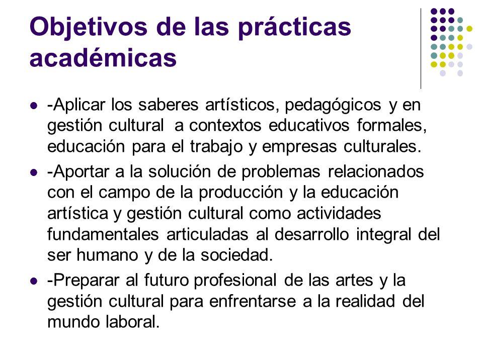 Objetivos de las prácticas académicas -Aplicar los saberes artísticos, pedagógicos y en gestión cultural a contextos educativos formales, educación para el trabajo y empresas culturales.