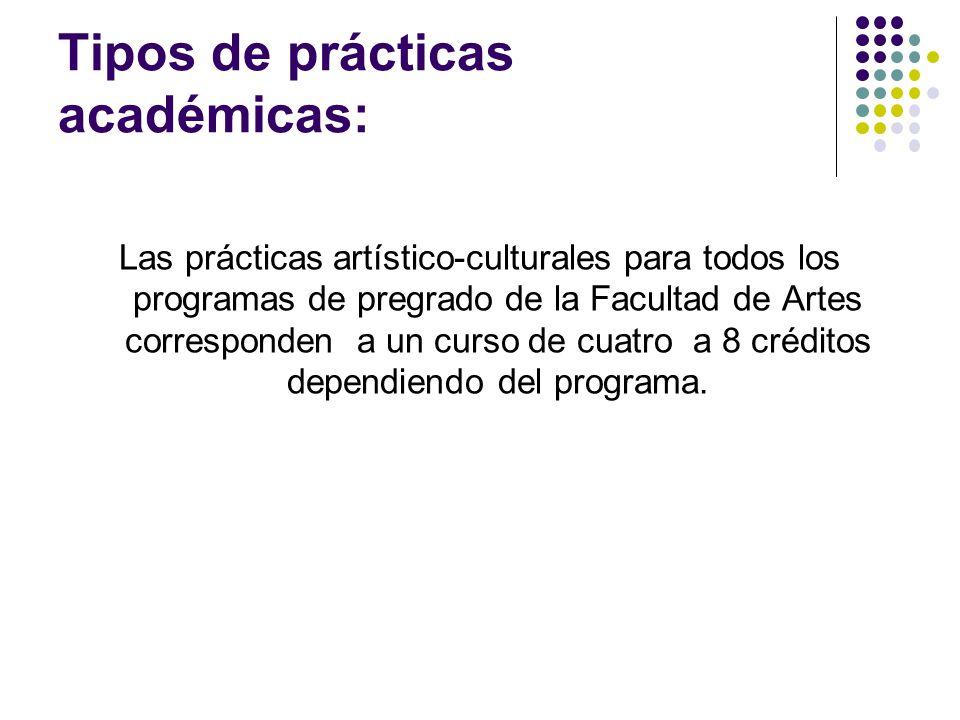 Tipos de prácticas académicas: Las prácticas artístico-culturales para todos los programas de pregrado de la Facultad de Artes corresponden a un curso de cuatro a 8 créditos dependiendo del programa.