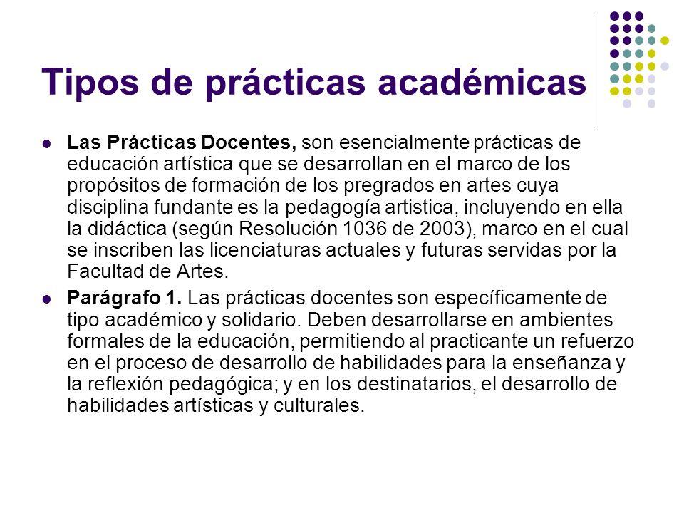 Tipos de prácticas académicas Las Prácticas Docentes, son esencialmente prácticas de educación artística que se desarrollan en el marco de los propósi