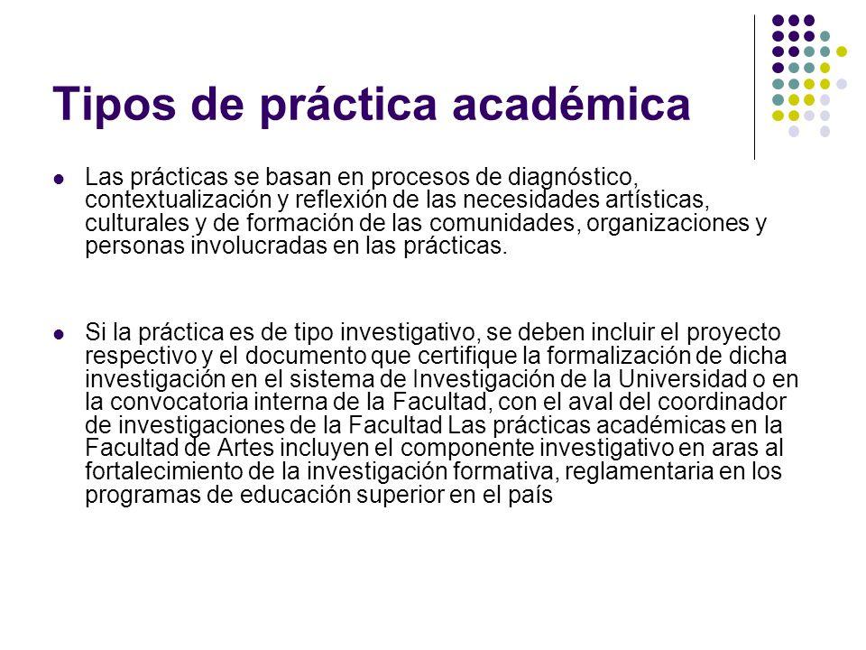 Tipos de práctica académica Las prácticas se basan en procesos de diagnóstico, contextualización y reflexión de las necesidades artísticas, culturales y de formación de las comunidades, organizaciones y personas involucradas en las prácticas.