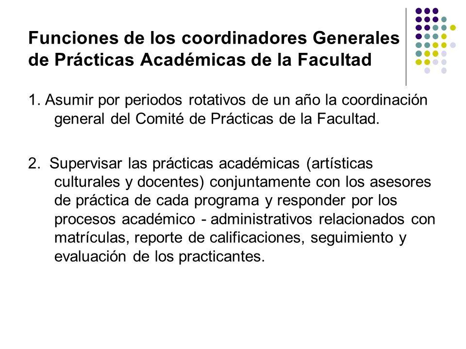 Funciones de los coordinadores Generales de Prácticas Académicas de la Facultad 1. Asumir por periodos rotativos de un año la coordinación general del