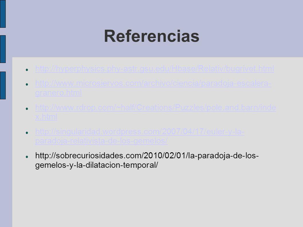 Referencias http://hyperphysics.phy-astr.gsu.edu/Hbase/Relativ/bugrivet.html http://www.microsiervos.com/archivo/ciencia/paradoja-escalera- granero.ht