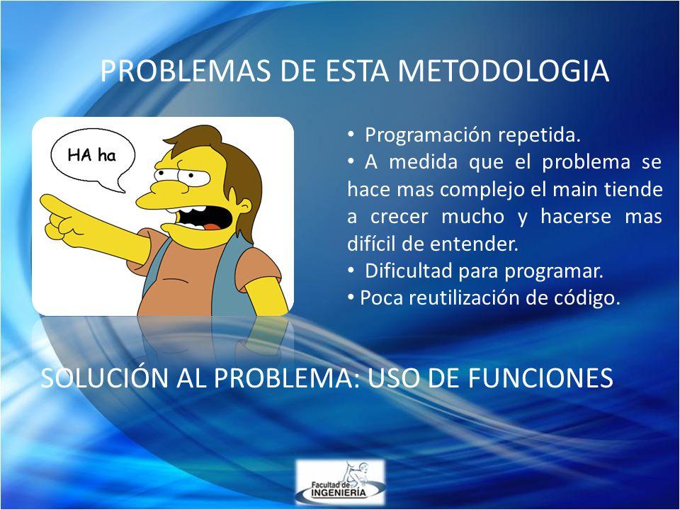SOLUCIÓN AL PROBLEMA: USO DE FUNCIONES Programación repetida. A medida que el problema se hace mas complejo el main tiende a crecer mucho y hacerse ma