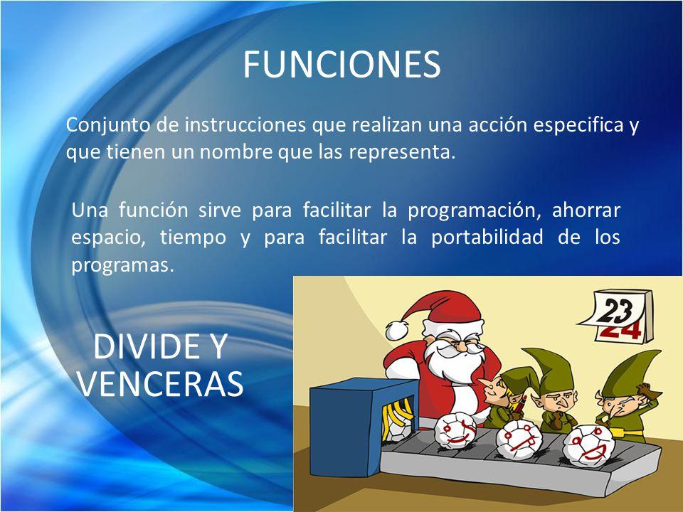 FUNCIONES Conjunto de instrucciones que realizan una acción especifica y que tienen un nombre que las representa. Una función sirve para facilitar la