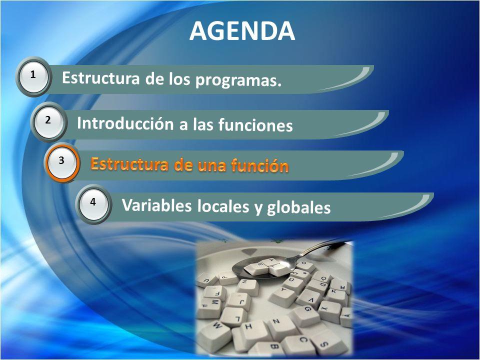 AGENDA 1 Estructura de los programas. 2 Introducción a las funciones 3 Estructura de una función 4 Variables locales y globales 3