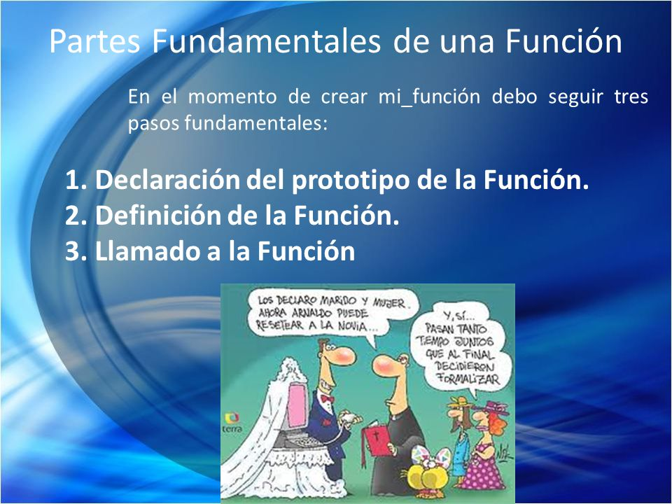 Partes Fundamentales de una Función En el momento de crear mi_función debo seguir tres pasos fundamentales: 1. Declaración del prototipo de la Función