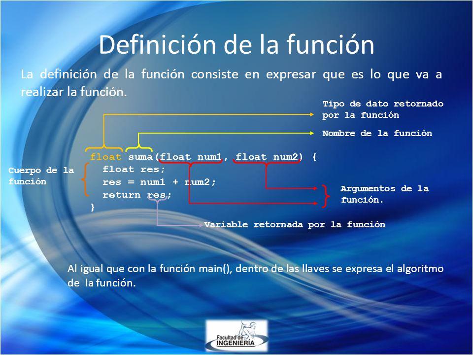 Definición de la función La definición de la función consiste en expresar que es lo que va a realizar la función. float suma(float num1, float num2) {