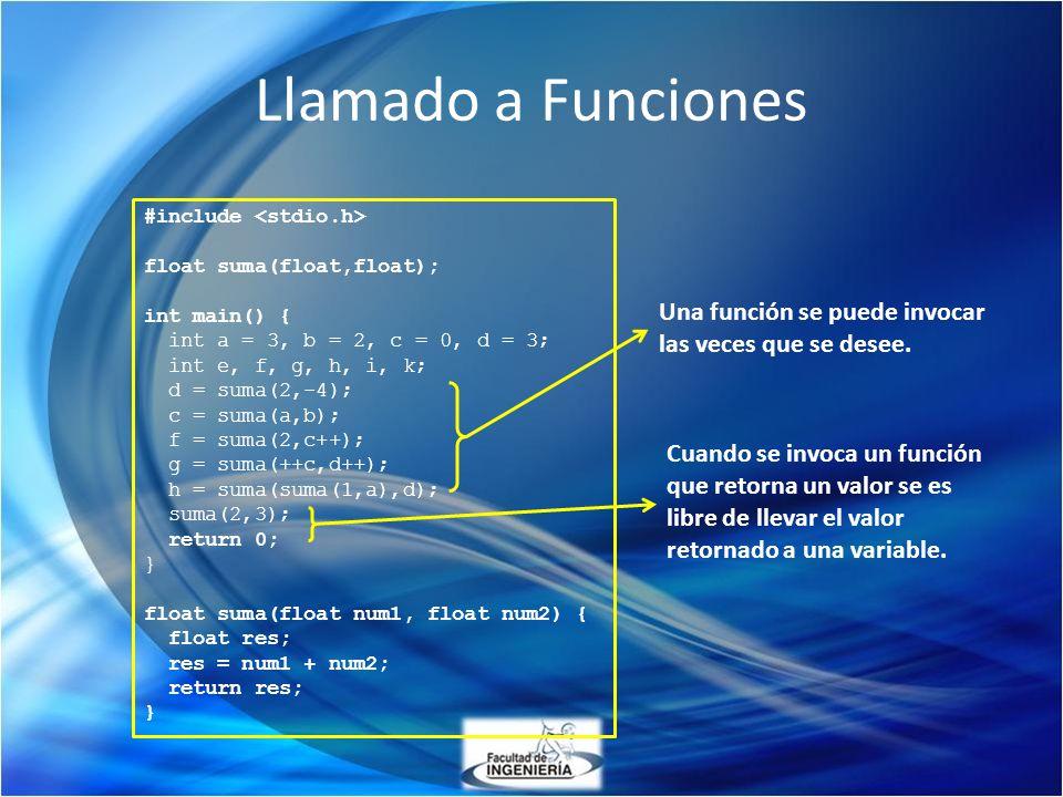 #include float suma(float,float); int main() { int a = 3, b = 2, c = 0, d = 3; int e, f, g, h, i, k; d = suma(2,-4); c = suma(a,b); f = suma(2,c++); g