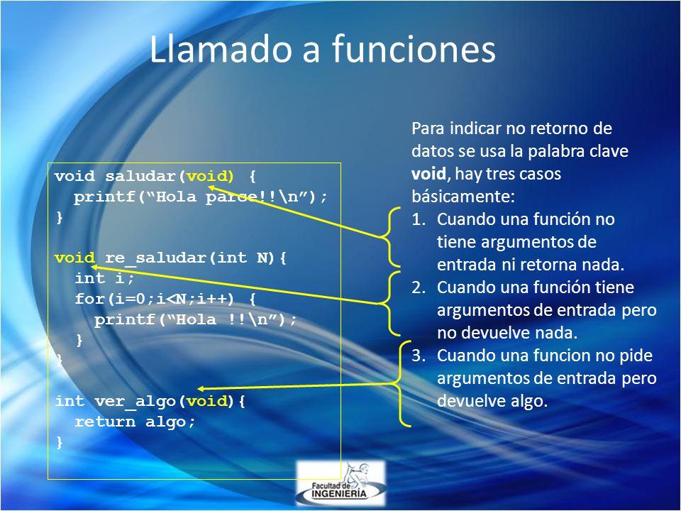 Llamado a funciones void saludar(void) { printf(Hola parce!!\n); } void re_saludar(int N){ int i; for(i=0;i<N;i++) { printf(Hola !!\n); } int ver_algo
