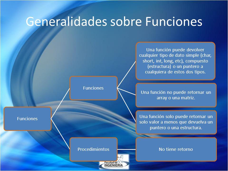 Generalidades sobre Funciones Funciones Una función puede devolver cualquier tipo de dato simple (char, short, int, long, etc), compuesto (estructura)