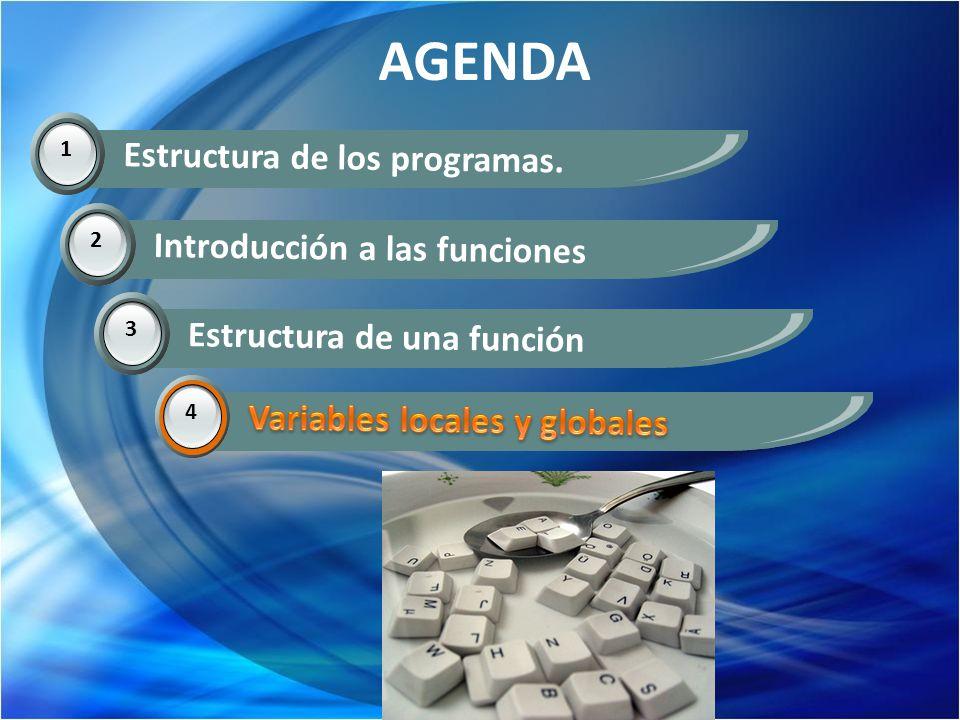 AGENDA 1 Estructura de los programas. 2 Introducción a las funciones 3 Estructura de una función 4 Variables locales y globales 4