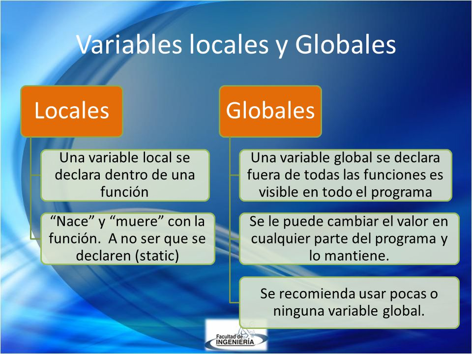 Variables locales y Globales Locales Una variable local se declara dentro de una función Nace y muere con la función. A no ser que se declaren (static