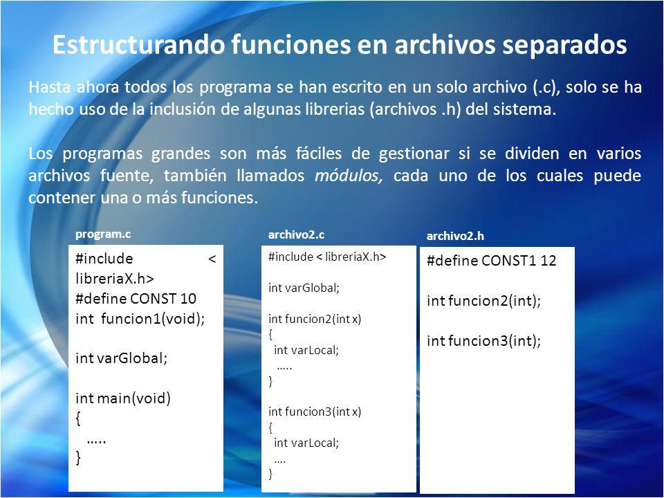 Estructurando funciones en archivos separados Hasta ahora todos los programa se han escrito en un solo archivo (.c), solo se ha hecho uso de la inclus