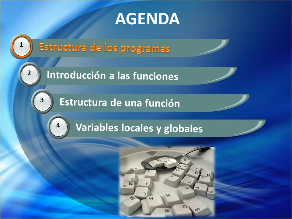 AGENDA 1 Estructura de los programas. 2 Introducción a las funciones 3 Estructura de una función 4 Variables locales y globales 1
