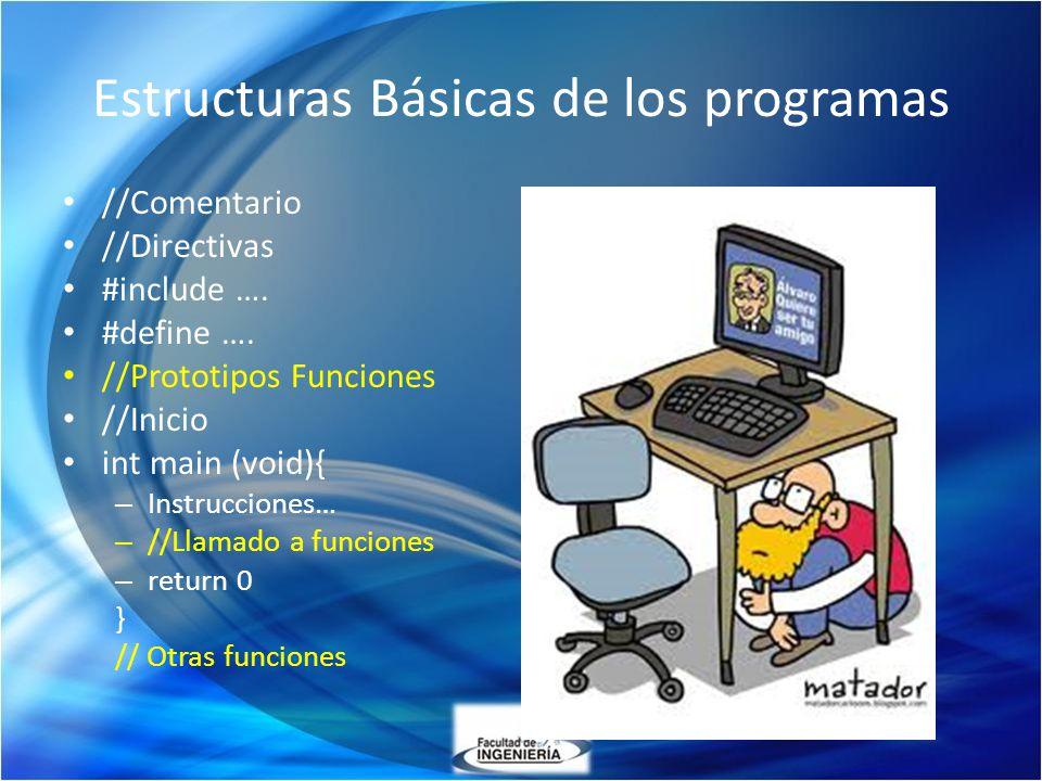 Estructuras Básicas de los programas //Comentario //Directivas #include …. #define …. //Prototipos Funciones //Inicio int main (void){ – Instrucciones