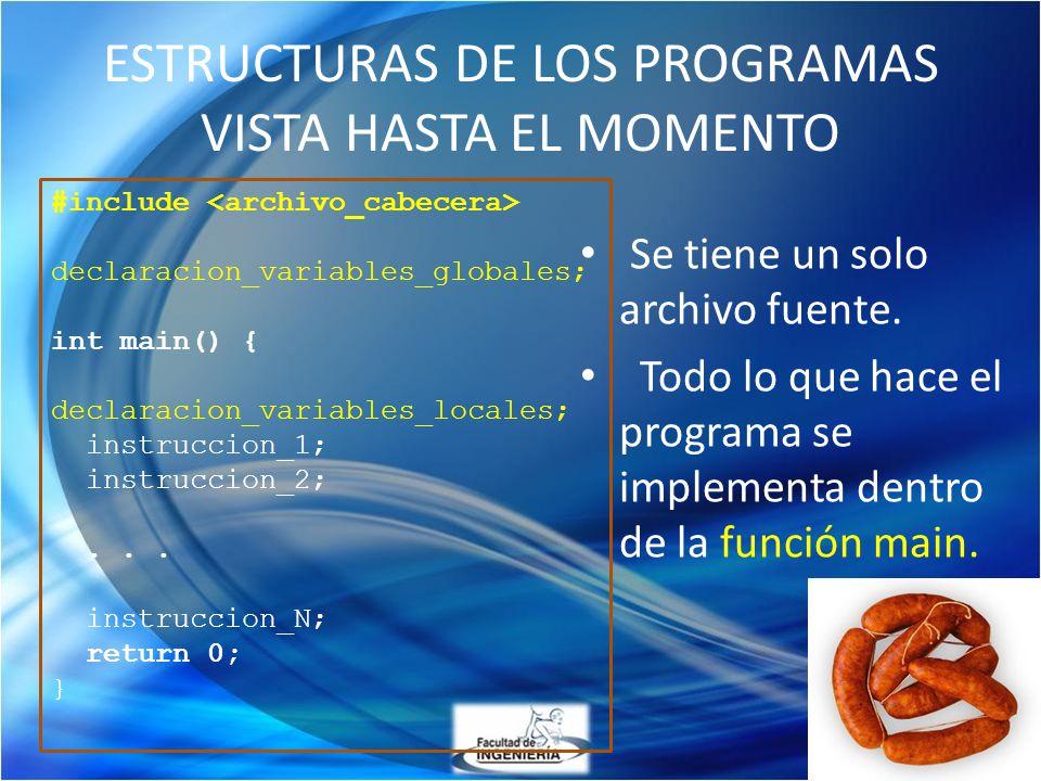 ESTRUCTURAS DE LOS PROGRAMAS VISTA HASTA EL MOMENTO Se tiene un solo archivo fuente. Todo lo que hace el programa se implementa dentro de la función m