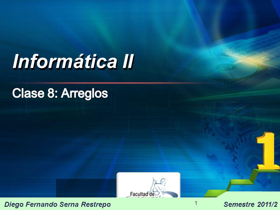 Informática II 1 Diego Fernando Serna RestrepoSemestre 2011/2