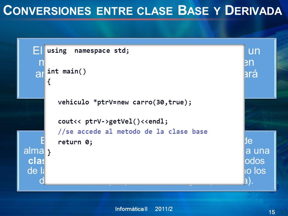 C ONVERSIONES ENTRE CLASE B ASE Y D ERIVADA En conclusión un puntero a la clase base puede almacenar la dirección de un objeto perteneciente a una clase derivada.