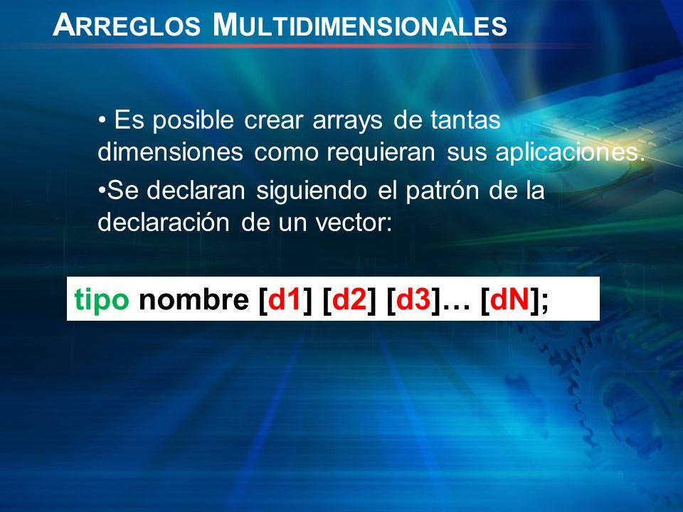 A RREGLOS M ULTIDIMENSIONALES Es posible crear arrays de tantas dimensiones como requieran sus aplicaciones.