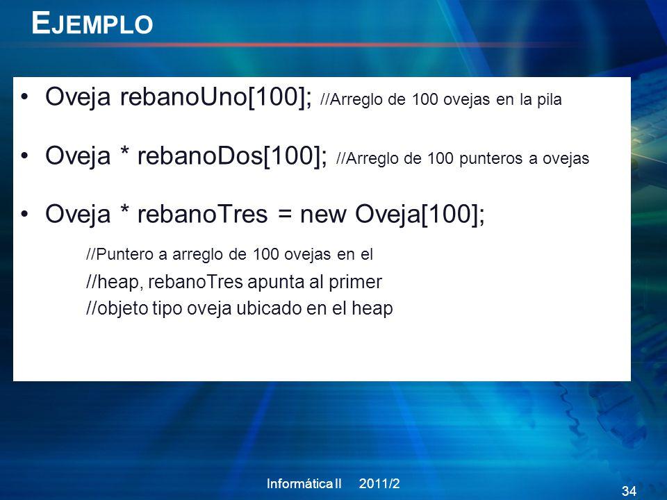 E JEMPLO Oveja rebanoUno[100]; //Arreglo de 100 ovejas en la pila Oveja * rebanoDos[100]; //Arreglo de 100 punteros a ovejas Oveja * rebanoTres = new Oveja[100]; //Puntero a arreglo de 100 ovejas en el //heap, rebanoTres apunta al primer //objeto tipo oveja ubicado en el heap Informática II 2011/2 34