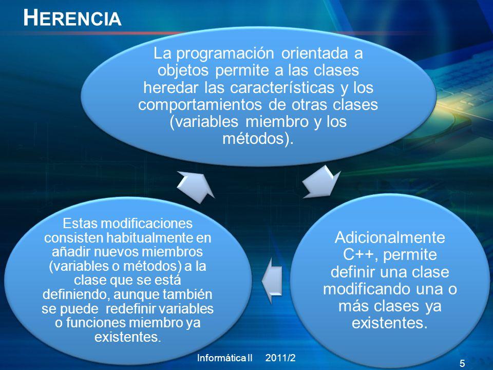 E JEMPLO M ÉTODOS V IRTUALES Informática II 2011/2 16 class vehiculo{ protected: int vel; bool on; public: vehiculo(); vehiculo(int _vel,bool _on); virtual int getVel() const; void setVel(int _vel); ~vehiculo(); }; class carro: public vehiculo{ private: int Ncambio; int acelerar; public: carro(); carro(int _vel,bool _on); int getVel() const; void cambCambio(int _Ncambio); ~carro(); }; int vehiculo::getVel() const { cout<< funcion getVel clase base <<endl; return vel; } int carro::getVel() const{ cout<< funcion getVel clase derivada <<endl; return vel; } using namespace std; int main() { vehiculo *ptrV=new carro(30,true); cout getVel()<<endl; //se accede al método de la clase derivada return 0; }