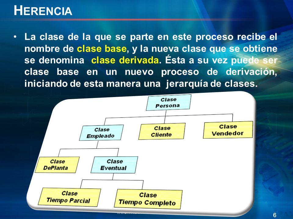 E JEMPLO H ERENCIA class vehiculo{ protected: int vel; bool on; public: vehiculo(); vehiculo(int _vel,bool _on); int getVel() const; void setVel(int _vel); ~vehiculo(); }; Informática II 2011/2 7 class bicicleta: private vehiculo{ private: int Ncambio; int pedalear; int Ndiscos; public: bicicleta(); void cambCambio(int _Ncambio); ~bicicleta(); }; //clase vehiculo vehiculo::vehiculo():vel(0),on(false){ cout<< constructor clase base <<endl; } vehiculo::vehiculo(int _vel,bool _on):vel(_vel),on(_on){ cout<< constructor con argumentos clase base <<endl; } int vehiculo::getVel() const { return vel; } void vehiculo::setVel(int _vel){ vel=_vel; } vehiculo::~vehiculo(){} //clase carro carro::carro():Ncambio(0),acelerar(0){ cout<< constructor por defecto clase derivada <<endl; } void carro::cambCambio(int _cambCambio){ Ncambio= _cambCambio; } carro::~carro(){} class carro: public vehiculo{ private: int Ncambio; int acelerar; public: carro(); void cambCambio(int _Ncambio); ~carro(); }; using namespace std; carro audi; int main() { //damos un valor a una variable miembro heredada audi.setVel(10); //accedemos a un metodo heredado cout<<audi.getVel()<<endl; return 0; } audi vel: 10